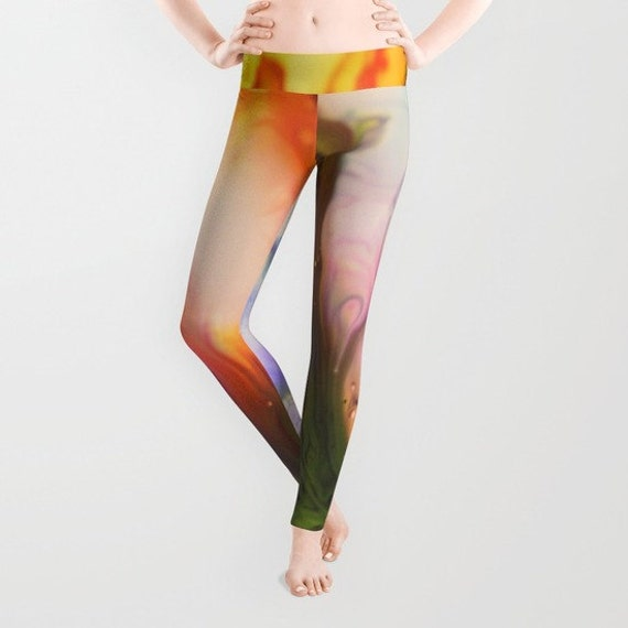 HAPPY DREAM Leggings, Colorful Yoga Pants, Unique Fashion, Abstract Yoga Leggings, Women, Teen Active Wear, Running Pants,Jogging Pants,Surf