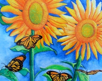 Bright summer sunflowers, monarch butterflies, cheerful, primary colors, summer gardens