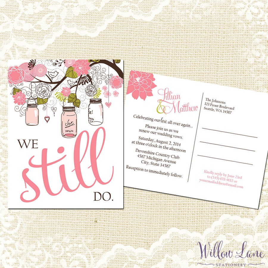 Vow renewal postcard we still do pink green mason jar vow zoom stopboris Images