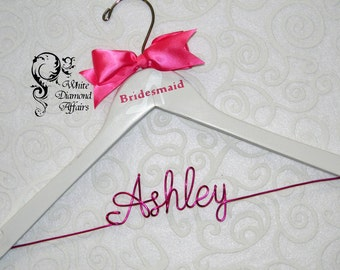 Personalized Bridesmaid High Heel Pump Wedding Hanger, Bridal Party Wedding Dress Hanger, Wedding Party Gift - Wire Name Hanger