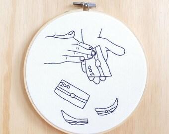 Make It Rain Hand Embroidery, Hoop Art, Wall Art, Decor