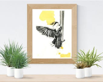 Bird Art Print | Ink and watercolor illustration |  Black and yellow | Wing | Quality Print | 8x10 | 5x7 | Josianne Dufour art | Animal
