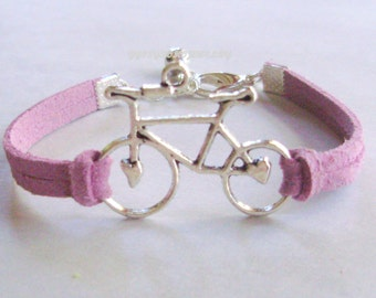Pick Color / Size  Antiqued Silver Tibetan Style Bike w/ Heart Charm Bracelet -  Bohemian Style Bracelet On Faux Suede leather - Made In sc1