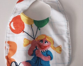 Sesame Street BIB, Betty Lou, Vintage Sheets, Upcycled Sheet, Repurposed Handmade gift, Baby Balloons, 1970s PBS show, 80s childhood, 1980s