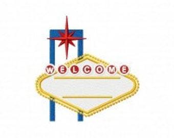 Vegas Sign Machine Embroidery Design