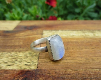 Square Moonstone Ring Size 10.5 / Sterling Silver Ring / Rainbow Moonstone / Moonstone Statement Ring / Silver Moonstone / Moonstone Jewelry
