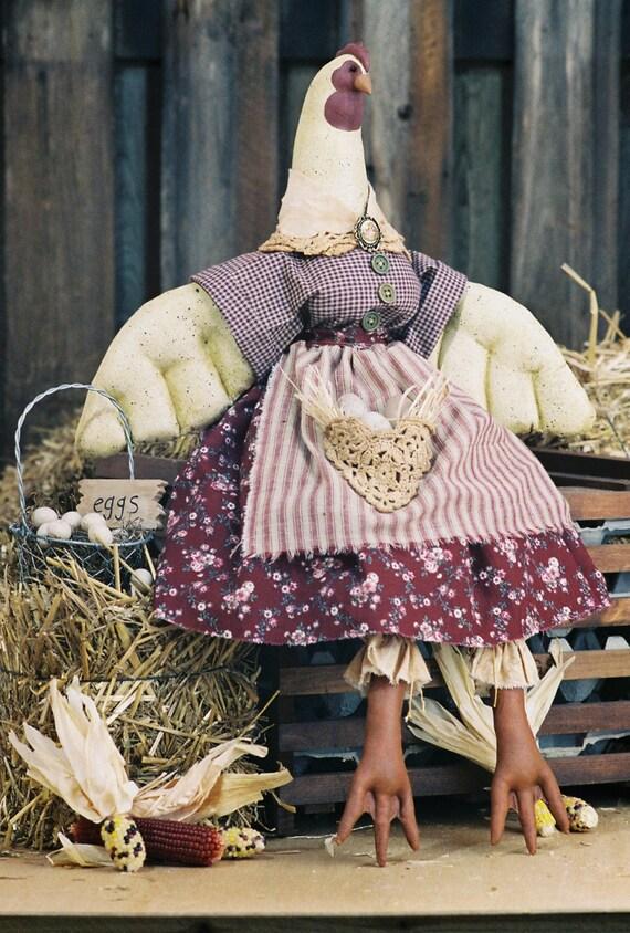 Ruffled Feathers - Cloth Doll E-Pattern - 26 inch Country chicken Hen Bird epattern