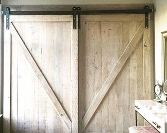 Reclaimed Douglas Fir whitewashed Barn Door
