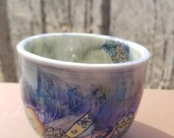 Handmade yunomi mug, handleless tea cup, tumbler, stemless wine, drinkware, stoneware, holds 2 cups, FREE SHIPPING
