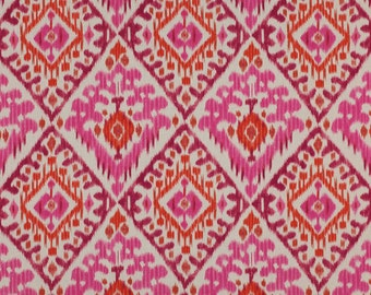 """Manuel Canovas , """"Boheme"""" Pink and Orange, Printed Linen, Curtain, Upholstery Fabric, From Jane Hall Design"""