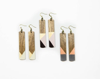 Lena Earrings/ Long Wood Rectangle Earrings/ Multi-Colored/ Geometric/ Metallic