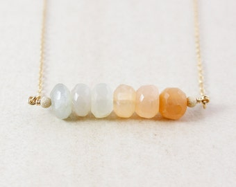 Peach Moonstone Beaded Necklace – 14K Gold Filled or 925 Sterling Silver