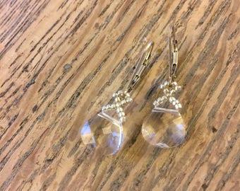 Swarovski beaded crystal earrings, crystal Bridal earrings, bridesmaid wedding earrings, silver crystal earrings, clear crystal earrings EBW