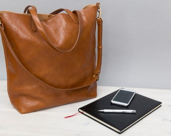 Sophia - Light brown leather tote bag, leather shopper bag, large bag, every day use tote bag
