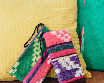 Bolivian Vintage Handwoven Native Aguayo Printed Green Pink Wallet Bag