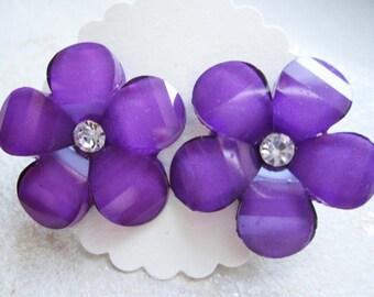 Flower earrings forget me not friendship purple jewelry