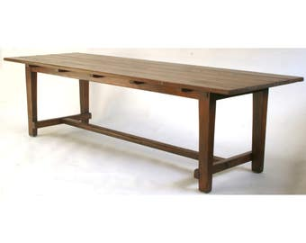 552 Rustic Oak Table, Harvest Table, Farm Table, Farmhouse Table, Trestle  Dining