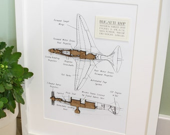 Aircraft Wall Art, Aviation Art, Bugatti 100P, Laser Cut Wood, Aviation Art, Bugatti, Blueprint Art, Aircraft, Aircraft Wall Art, 8x10 or A4