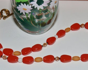 Coral X Three Beaded Necklace - Dark Red Coral, Light Frosted Coral Glass Beads with Coral Swarovski Crystal Handmade Ladies Beaded Necklace