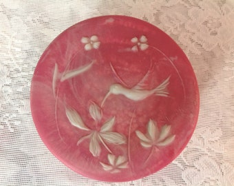 Vintage Round Incolay Trinket Dish With Lid R Nemith Powder Room Bowl With Lid Humming Bird Pink and White Incolay Round Dish