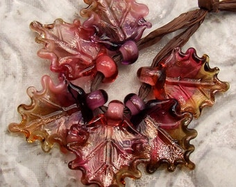 Lampwork Glass Leaves for Jewelry Making, Set of 6 leaf beads in Warm Colors, Made to Order