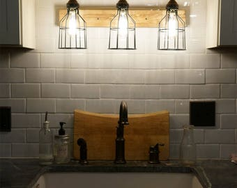 Bathroom cages Vanity Bar Light Fixture Industrial style pine wood