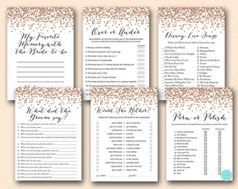 Rose Gold Bridal Shower Games, Rose Gold Bachelorette Game, would she rather, porn or polish, favorite memory, what did groom say, BS155