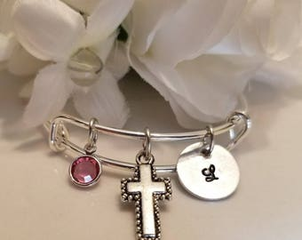 Personalized Child's Bangle Bracelet with Initial and Birthstone Custom cross