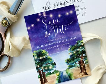 Wedding invitation Design, Save the Date Design, Custom Watercolor and Calligraphy