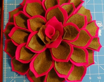 "Unique One of a Kind Green on Deep Pink Attention Getter Party Gathering or Church Social Huge 10"" x 3 1/2"" Felt Dahlia Brooch"