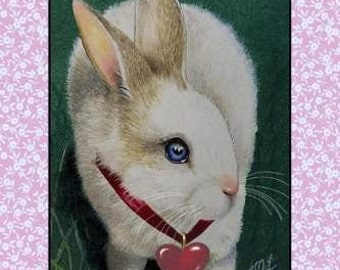 Valentines Bunny Rabbit Card by Melody Lea Lamb