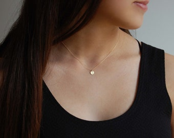 18K Gold Disc Necklace Simple Personalized Necklace 18K Gold Initial Necklace 18K Gold Jewelry Luxury Jewelry