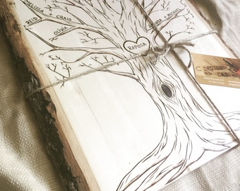 Dad's Day Gift for Dad, Woodburned family tree, personalized w/names, custom message, family roots, wood burned art, genealogy art, Grandma