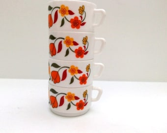 Vintage 1970s Arcopal cafe latte cup and saucer yellow and orange flower