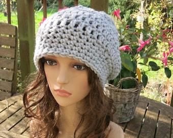Crochet beret crochet hat grey Shelly