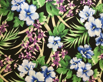 Hawaiian fabric tropical print. Hibiscus, orchids, ferns, tropical greenery. Cotton poly