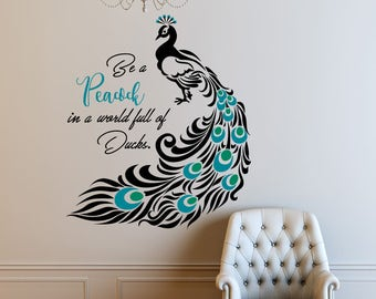 Lovely Peacock, Quote Decal, Peacock Feathers, Peacock Decor, Peacock Wall Decal,  Quote