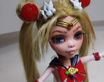 Sailor Moon inspired ooak doll Monster High repaint