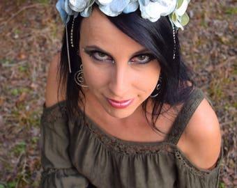 SILVER FROST Flower Fairy Crown Wreath Headdress SALE