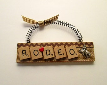 Rodeo Bucking Bronco Scrabble Tile Ornament