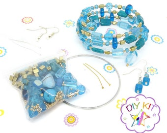 Diy kit, Czech Glass Beaded Memory Wire Bracelet Kit - Jewellery making kit - Earring kit - Turquoise Golden mix  - Faraway Land
