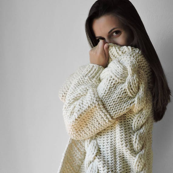 sweaters knit Knit Hand Wool sweater Womens sweater sweater Cardigans Cable sweater Chunky jacket knit coat Bulky Oversized Women knitted qpSTnSrt