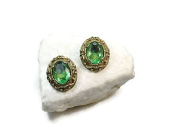 Vintage Antique Brass Emerald Glass Earrings