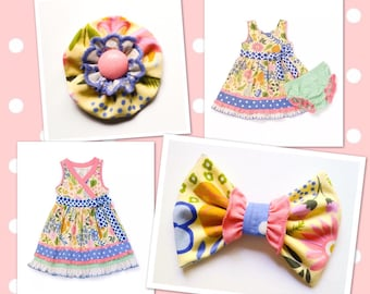 M2M Matilda Jane *The Adventure Begins* Daffodil May Day Layered Flower or Ruffle Bow Hair Clip or Headband