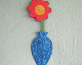Metal Wall Art Flower Recycled Metal Mini Flower Vase Coral Blue Aqua Metal Art Sculpture Wall Hanging Colorful Flowers 3 x 9
