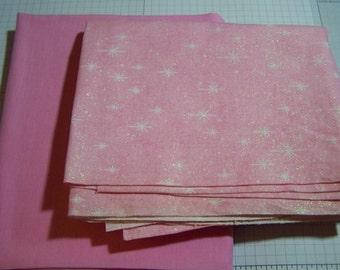 Pink Glitter Stars  Fabric...