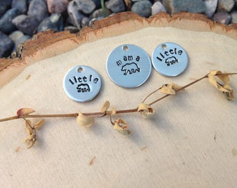 Hand stamped mama bear and little bear charms - set of 3 stamped discs