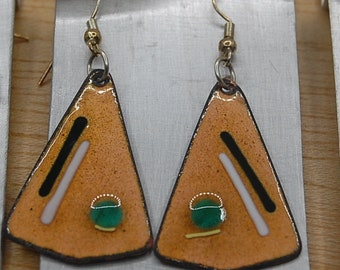 Triangle Earrings Enamel Copper