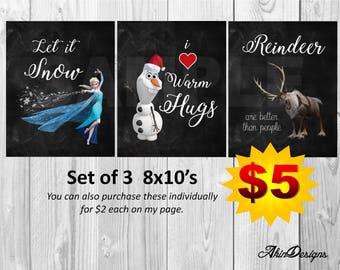 Frozen 8x10 set of 3, Reindeer, Snow, Hugs, Printables