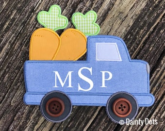 Monogram Easter Patch | Boy's Iron On Easter Patch | Make Your Own Easter Shirt | Blue Truck Monogram Easter  Patch |
